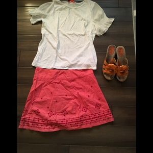 Prana orange embroidered skirt